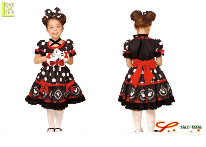 キッズ  95R076 チャイルド ミニーマウス ゴシックブラック キッズ  ディズニー Disney 仮装 パーティ ミニーちゃんの子供用コス!♪☆AOIコレクションのコス♪コスプレ 衣装 コスチューム    大