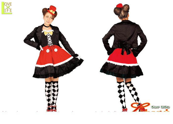 レディ  95R077 ゴシック ミッキーマウス レディ (Disney)スカート ディズニー  仮装 パーティ ミッキーマウスのゴシック衣装♪☆AOIコレクションのコス♪コスプレ 衣装 コスチューム    大
