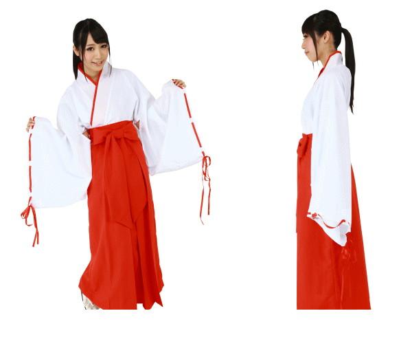 1  神社巫女 神主 お参り 仮装 コスプレ 上着をインしたらすぐに可憐な巫女さんの完成☆AOIコレクションのコスプレ♪コスチューム    大