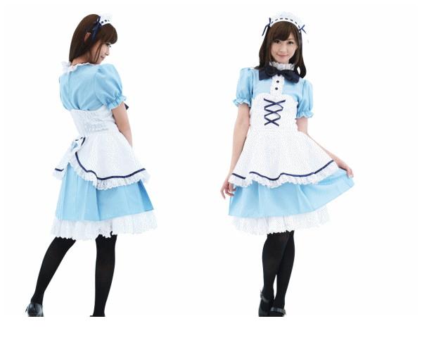 1  ペルシャンブルーメイドメイド ウェイトレス 店員 仮装 コスプレ 高級感と可愛らしさがマッチ♪☆AOIコレクションのコスプレ♪コスチューム    大