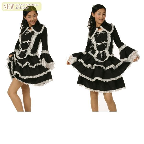 マリアドレス(チュールメイド)黒/白♪フリルをたっぷり使ったロリータコスチューム♪☆AOIコレクションのコスプレシリーズ♪コスプレ 衣装 コスチューム    大