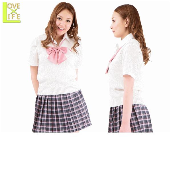 平成女学園制服 2012年新作 ピンクチェックが可愛い女子制服です。白のカーディガンでさわやか!フレッシュな印象の平成女学園!☆コスプレ 衣装 コスチューム   大