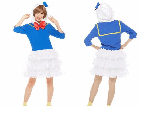 レディ ドナルドダック ドナルド フードワンピース ディズニー Disney ハロウィン コスプレ コスチューム 衣装 仮装 集団仮装 かわいい