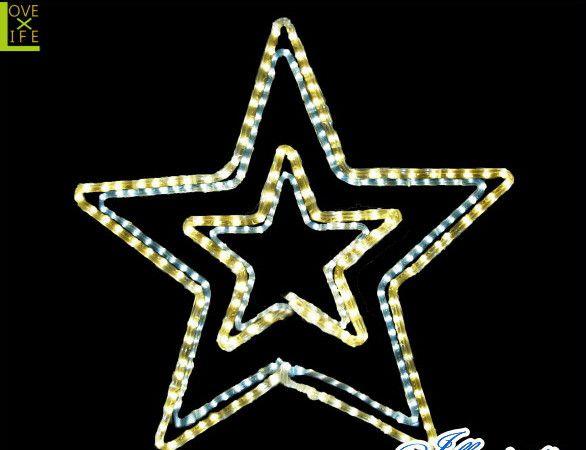 【LED】【2D】【モチーフ】【L2D(C)M501】LED ダブルスターホワイトゴールド【壁掛け】【流れ星】【スター】【星】人気の色を組み合わせたらキレイなスターが出来ました AOIデパートのLEDイルミネーション【イルミネーション】【クリスマス】【電飾】【省エネ】