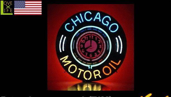 【アメリカン雑貨】ネオン サインクロック【Chicago Motor Oil】【アメリカ雑貨】【ネオン】【時計】【BAR】【インテリア】【アメリカ】【USA】【かわいい】【おしゃれ】定番のアメリカン雑貨や珍しいグッズを多数揃えました お気に入りのアイテムで楽しい空間を演出