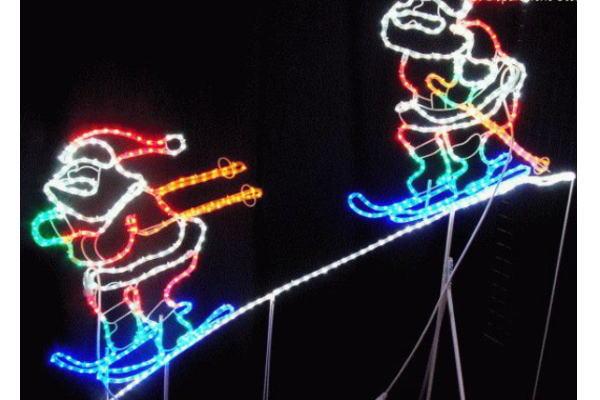 【新商品】LEDイルミネーション LED スキーサンタ モチーフ♪スキーを楽しんでいるサンタです♪動きがあってかわいいですヨ♪【20 】【クリスマス】【LED】【イルミネーション】【電飾】【送料無料】【2010イルミ_debut】【2010イルミ_led】【2010イルミ_eco】
