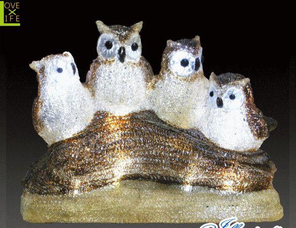 【イルミネーション】LEDクリスタル ファミリーフクロウ【フクロウ】【梟】【アニマル】【動物】【立体】【3D】【アート】【輝き】【電飾】【モチーフ】【クリスマス】【クリスタル】【かわいい】大人気の動物イルミネーションに新しい仲間達が大集合 かわいさ満点