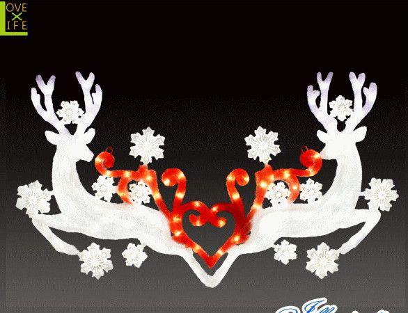 【イルミネーション】LEDクリスタル ダブルトナカイ【トナカイ】【リース】【玄関】【2D】【アニマル】【動物】【アート】【輝き】【電飾】【モチーフ】【クリスマス】【クリスタル】【かわいい】かわいい装飾リースでクリスマスが一層華やかに演出できます