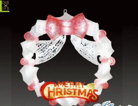【イルミネーション】LEDクリスタル リース【ホワイトレッド】【玄関】【壁掛け】【2D】【装飾】【飾り】【アート】【輝き】【電飾】【モチーフ】【クリスマス】【クリスタル】【かわいい】かわいい装飾リースでクリスマスが一層華やかに演出できます