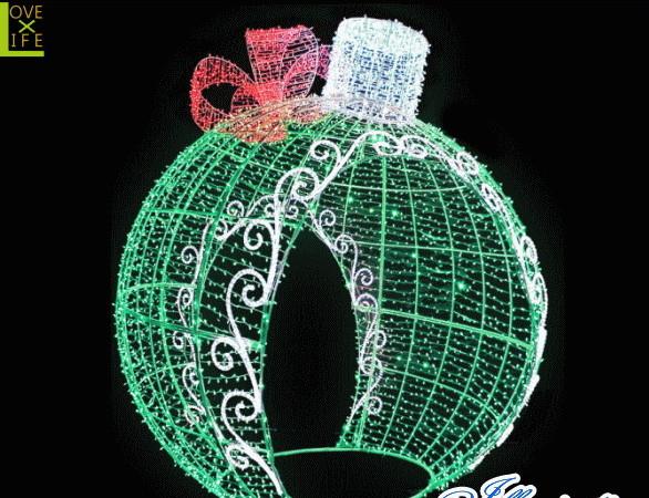 【LED】【イルミネーション】【大型商品】デコレーションボール【グリーン】【リボン】【ボール】【オブジェ】【エクステリア】【電飾】【モチーフ】【クリスマス】【クリスタル】【かわいい】【素敵】