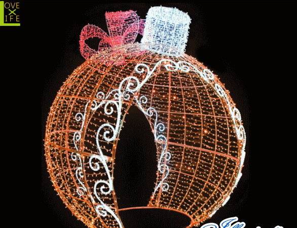 【LED】【イルミネーション】【大型商品】デコレーションボール【オレンジ】【リボン】【ボール】【オブジェ】【エクステリア】【電飾】【モチーフ】【クリスマス】【クリスタル】【かわいい】【素敵】