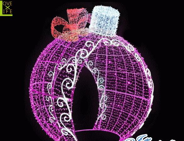 【LED】【イルミネーション】【大型商品】デコレーションボール【ピンク】【リボン】【ボール】【オブジェ】【エクステリア】【電飾】【モチーフ】【クリスマス】【クリスタル】【かわいい】【素敵】
