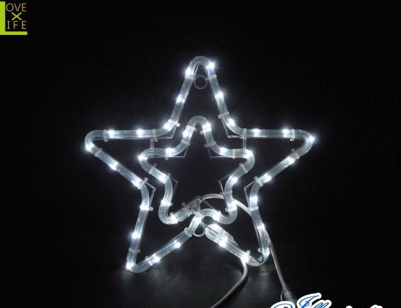 【イルミネーション】チューブスター【ホワイト】【結晶】【スター】【星】【クリスタル】【フォルム】【電飾】【LED】【モチーフ】【クリスマス】【かわいい】