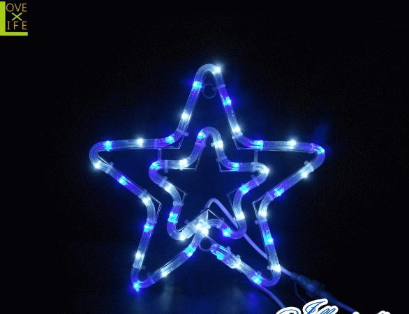 【イルミネーション】チューブスター【ブルー】【結晶】【スター】【星】【クリスタル】【フォルム】【電飾】【LED】【モチーフ】【クリスマス】【かわいい】