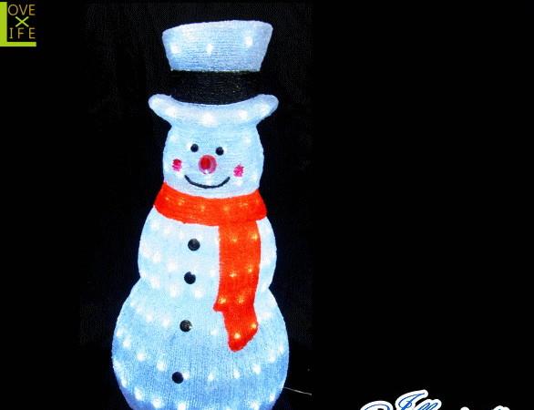 【イルミネーション】ホワイトスノーマン【立体】【置き形】【雪だるま】【スノーマン】【LED】【クリスタル】【クリスマス】【電飾】【省エネ】