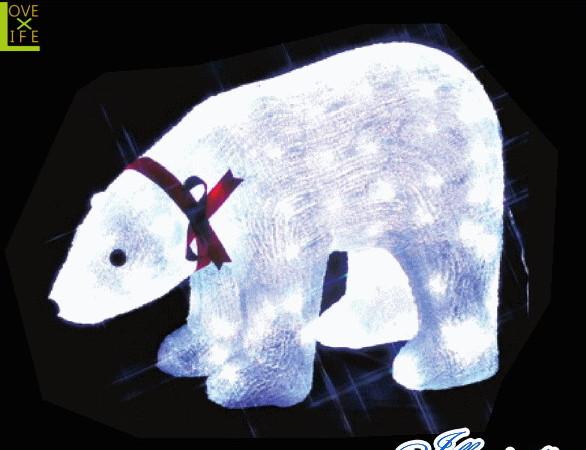 【イルミネーション】白クマ【L】【くま】【熊】【クリスタル】【立体】【動物】【アニマル】【グロー】【LED】【クリスマス】【電飾】【モチーフ】【ローボルト】【かわいい】