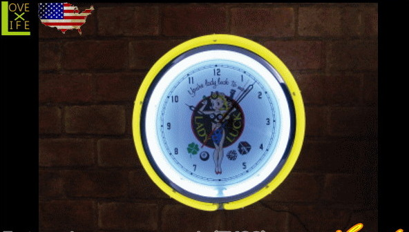 【アメリカン雑貨】ネオンクロック【レディラック】【LADY LUCK】【ライト】【電飾】【インテリア】【オブジェ】【置物】【雑貨】【アメリカ雑貨】【アメリカ】【USA】【時計】【おしゃれ】