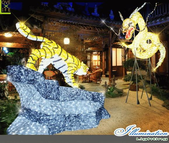 【大型商品】【イルミネーション】龍虎図【龍】【虎】【ドラゴン】【タイガー】【日本画】【アニマル】【動物】【立体】【3D】【アート】【LED】【輝き】【電飾】【モチーフ】【クリスマス】【クリスタル】【かわいい】