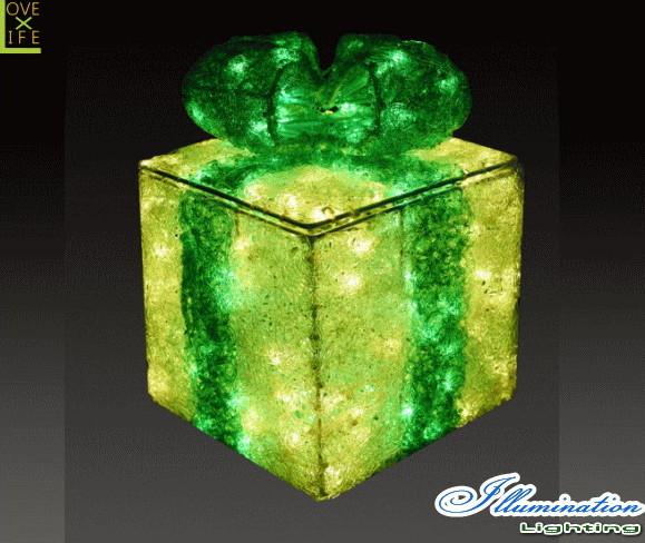 【イルミネーション】ギフトボックス【グリーン】【S】【ギフト】【プレゼント】【箱】【ボックス】【LED】【クリスタル】【電飾】【モチーフ】【クリスマス】【かわいい】