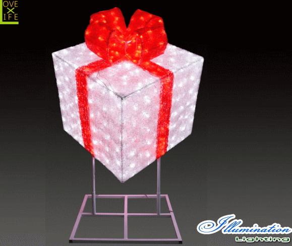 【イルミネーション】ギフトボックス【レッド】【スタンド式】【ギフト】【プレゼント】【箱】【ボックス】【LED】【クリスタル】【電飾】【モチーフ】【クリスマス】【かわいい】