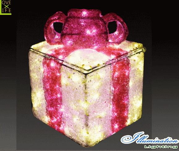 【イルミネーション】ギフトボックス【ピンク】【S】【ギフト】【プレゼント】【箱】【ボックス】【LED】【クリスタル】【電飾】【モチーフ】【クリスマス】【かわいい】