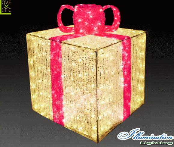 【イルミネーション】ギフトボックス【ピンク】【L】【ギフト】【プレゼント】【箱】【ボックス】【LED】【クリスタル】【電飾】【モチーフ】【クリスマス】【かわいい】