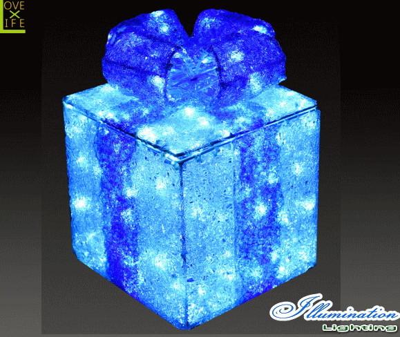 【イルミネーション】ギフトボックス【ブルー】【S】【ギフト】【プレゼント】【箱】【ボックス】【LED】【クリスタル】【電飾】【モチーフ】【クリスマス】【かわいい】