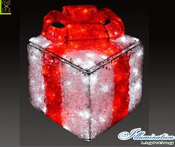 【イルミネーション】ギフトボックス【レッド】【S】【ギフト】【プレゼント】【箱】【ボックス】【LED】【クリスタル】【電飾】【モチーフ】【クリスマス】【かわいい】