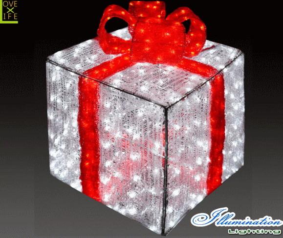 【イルミネーション】ギフトボックス【レッド】【L】【ギフト】【プレゼント】【箱】【ボックス】【LED】【クリスタル】【電飾】【モチーフ】【クリスマス】【かわいい】