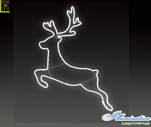 【イルミネーション】ジャンピングトナカイ【S】【トナカイ】【鹿】【アニマル】【動物】【平面】【壁掛け】【輝き】【電飾】【LED】【モチーフ】【クリスマス】【クリスタル】【かわいい】