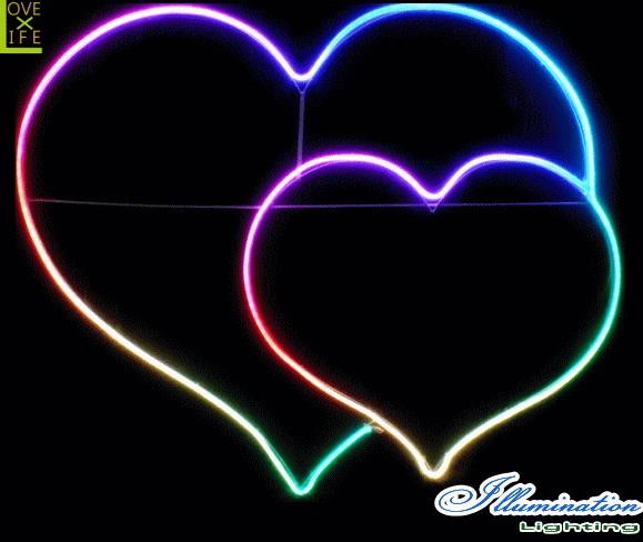 【イルミネーション】ハート【S】【LEDフルカラー】【ラブ】【LOVE】【アート】【クリスタル】【LED】【フォルム】【電飾】【モチーフ】【クリスマス】【かわいい】