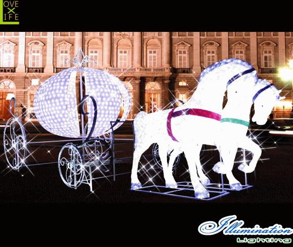 【大型商品】【イルミネーション】キングダム馬車【馬車】【馬】【ホース】【うま】【3D】【クリスマス】【電飾】【装飾】【飾り】【パーティ】【イベント】【光】【LED】【モチーフ】【オブジェ】