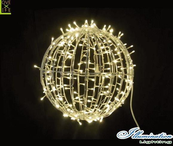 【イルミネーション】ワイヤーボール【M】【ゴールド】【ボール】【LED】【オブジェ】【エクステリア】【電飾】【モチーフ】【クリスマス】【クリスタル】【かわいい】【素敵】
