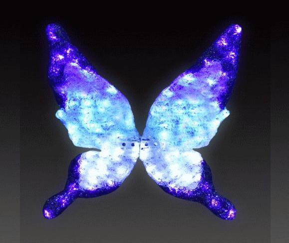 【イルミネーション】【大型商品】バタフライ【ブルー】【小】【蝶】【蝶々】【昆虫】【LED】【置物】【アゲハ】【動物】【電飾】【モチーフ】【クリスマス】【クリスタル】【かわいい】