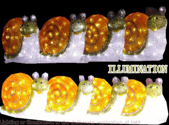 LEDアクリル【カタツムリ】【3連】カタツムリ 70球 今年は一段とクォリティーがたかい! LEDイルミネーション 【LED】【20 】【送料無料】【クリスマス】【イルミネーション】【電飾】【モチーフ】【大人気】