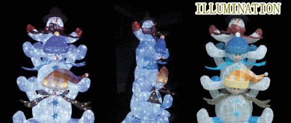 【2012新作イルミネーション】LED クリスタル 3連スノーマン☆LEDイルミネーション クォリティーの高いイルミネーションが勢ぞろい【LED】【送料無料】【クリスマス】【イルミネーション】【電飾】【モチーフ】【大人気】