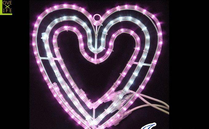 【LEDモチーフ】【20 】LED トリプルハート【ハート】【ピンク】ピンクとホワイトのコンビでかわいいハートが仕上がりました♪美しい点滅で恋人たちもウットリ♪【2012年新作】【送料無料】【大人気】【イルミネーション】【LED】【大人気】