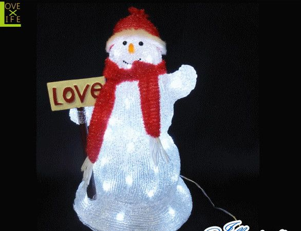 【20 】LED ラブ スノーマン【看板】【スノーマン】【3D】【立体】【雪だるま】【LED】【スノー】赤いマフラーを掛けた!つぶらな瞳の雪だるま♪【送料無料】【クリスマス】【イルミネーション】【電飾】【モチーフ】