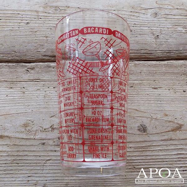 レシピグラス カクテルメジャーグラス 赤 イギリス製 おすすめ アンティーク ガラス キッチン雑貨 赤い文字 ガラスメジャーカップ 赤文字 内祝い インテリア メージャーカップ ブロカント