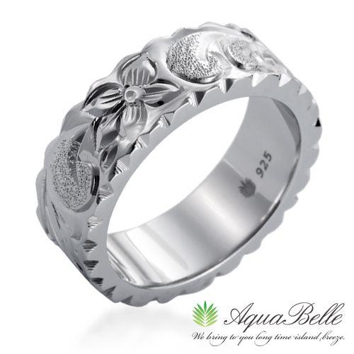 ハワイアンジュエリー リング メンズ レディース ハワジュ アクセサリー シルバー 送料無料 あす楽 プレゼント 人気 ラヴァーズ フラットリング7mm 指輪 ホワイトデー 誕生日プレゼント 記念日 アクアヴェール