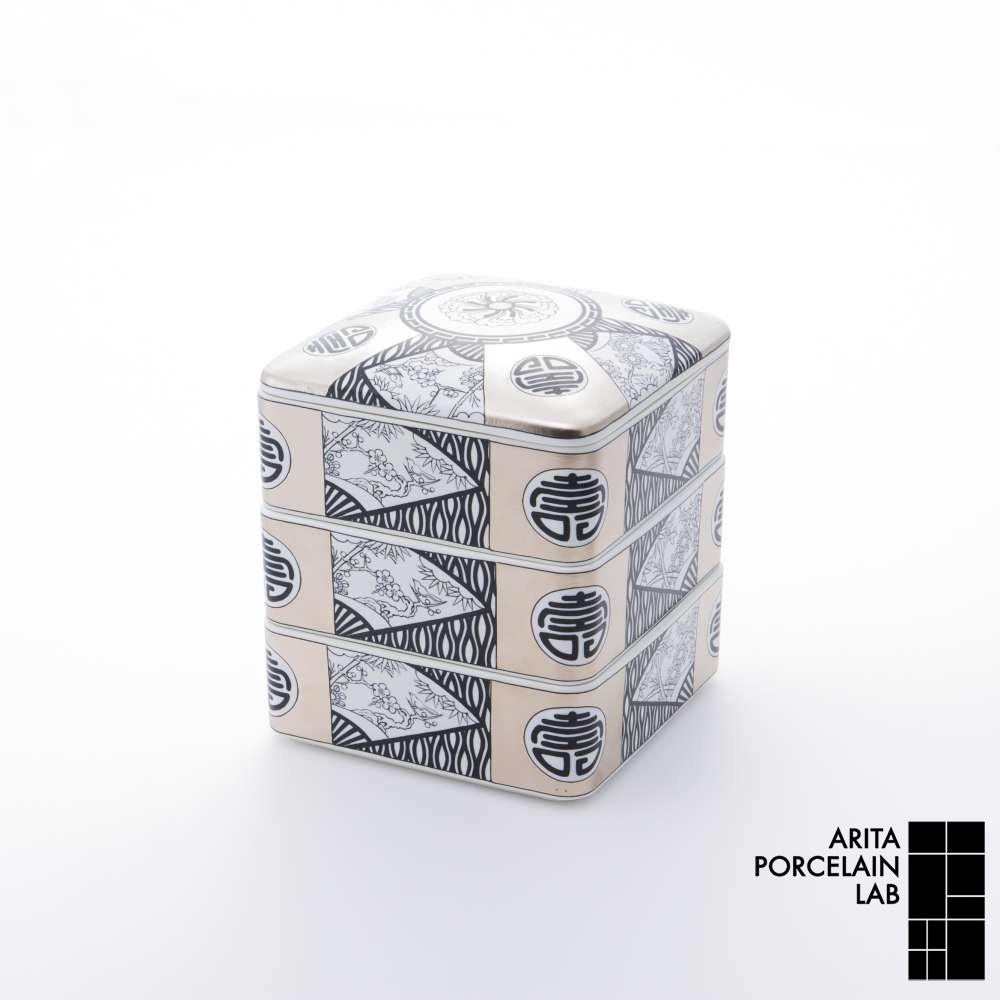 和食器 蓋物 JAPAN SNOW 三段重 丸紋寿 吉祥文様 和モダン ブランド 食器 食器ギフト アリタポーセリンラボ