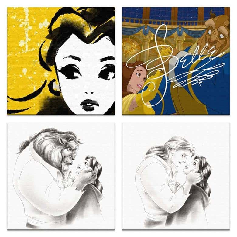 【アートデリ】美女と野獣のファブリックパネルセット インテリア 雑貨 アート ベル dsn-0184_dsn-0298_dsn-0309_dsn-0310