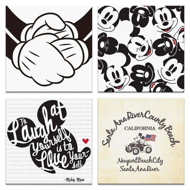 【アートデリ】ミッキーマウスのファブリックパネルセット インテリア 雑貨 アート  dsn-0321_dsn-0322_dsn-0320_dsn-0289