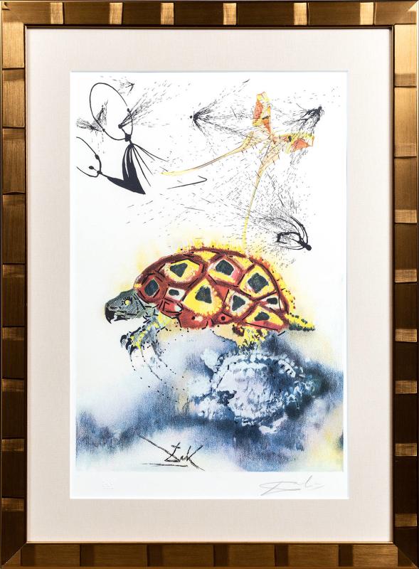 新品未使用正規品 版画 中古 いかさま海亀の話 正規激安 リトグラフ 本人 鉛筆 ダリ Dali Salvador サルバドール サイン
