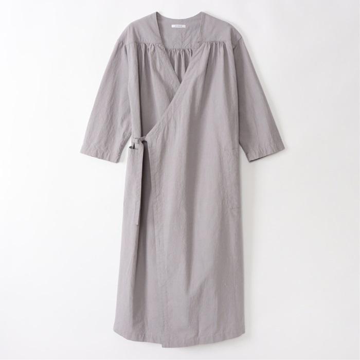 綿麻カシュクールオープンフレアワンピースART WORK BLUE レディース LADY'S 2021年春夏 ワンピース ゆったりサイズ アートワークブルー 重ね着 物品 日本製 羽織 綿麻 レイヤード セール