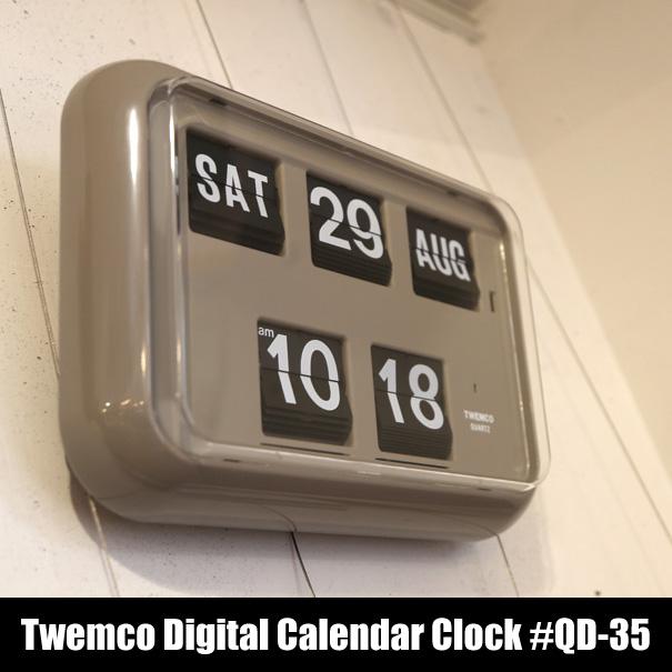 """【ポイント最大32倍!9日 1:59まで】【送料無料】Twemco Digital Calendar Clock #QD-35 """"Gray""""トゥエンコデジタルカレンダークロック デザイン 掛け時計 掛時計 置き時計 クロック アメリカ フリップ パタパタ 壁掛け グレー"""