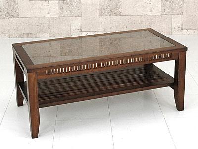 バンブー W90 棚付き センター テーブル ブラウン