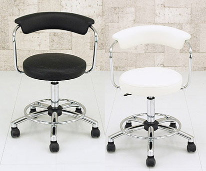 Atmack Chrome Plated Wheels Rotating Chair Black And White Brown