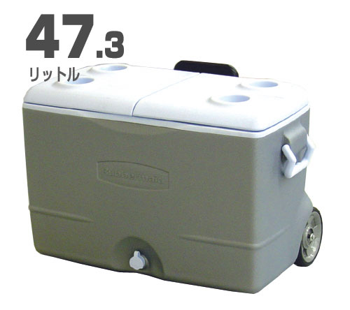 Rubbermaid 대형 쿨러 박스(47.3 L) 캐스터/휠・안내인 그레이