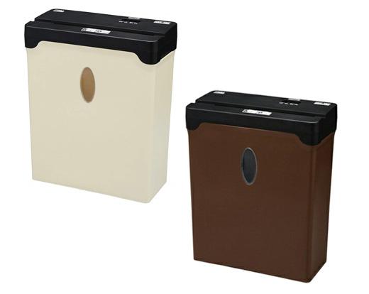 送料無料 A4 クロスカット 電動 シュレッダー ベージュ ブラウン 紙専用 コンパクト